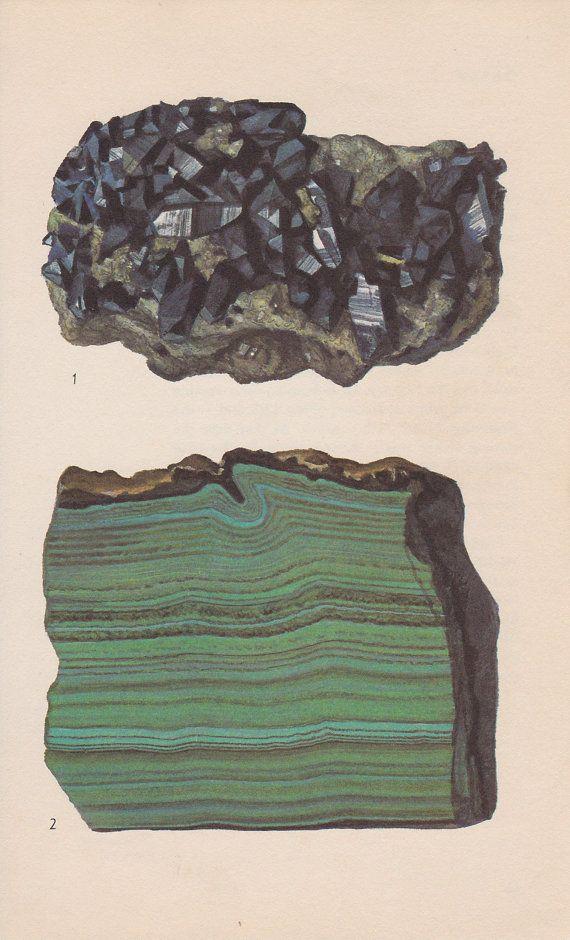 // Vintage mineral print, Azurite & Malachite