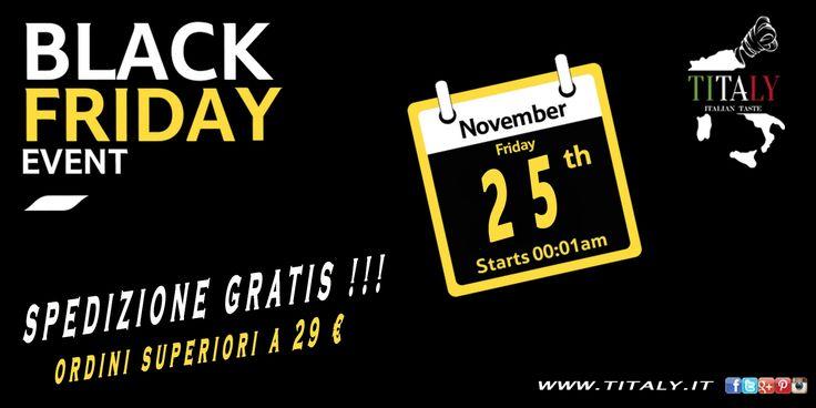 Manca poco più di un mese al Black Friday 2016 e #Titaly si prepara ad affrontare il venerdì nero degli acquisti con una speciale offerta, Spedizione Gratis in tutta Italia!