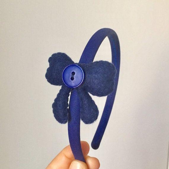 Cerchietto fiocco blu in pannolenci. di IlMagicoMondodiGaia