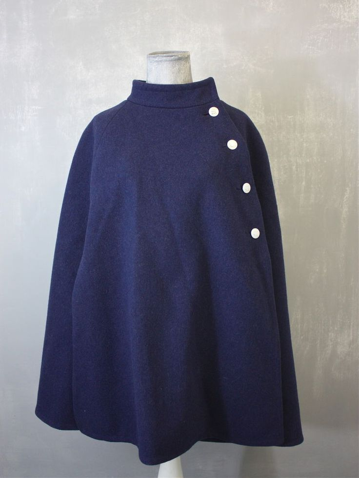 Vintage Smoke Blue Miliary Style Womens Wool Cape #Unbranded GREAT vintage cape!