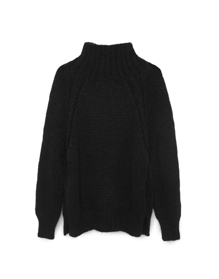 High-neck sweater in thick comfy knit. Raglan sleeves with ribbed endings. Plain structured. Open at sides, giving it a loose, extra comfortable fit. Soft llama wool.