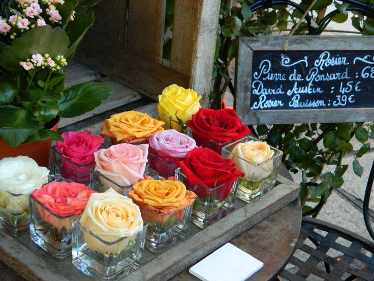 Roses outside a flower shop in Paris, France.