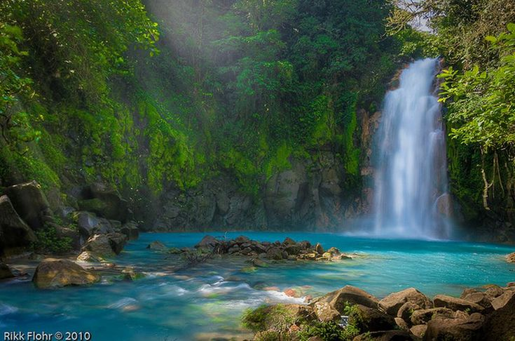 The Celste River, is located in Costa Rica,and it is known for its turquoise color which is formed from a chemical reaction between sulfur and calcium carbonate.
