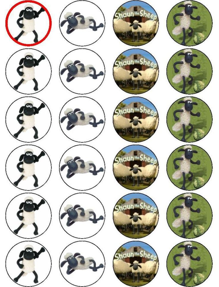 24 x SHAUN THE SHEEP EDIBLE RICE PAPER CAKE TOPPERS ...