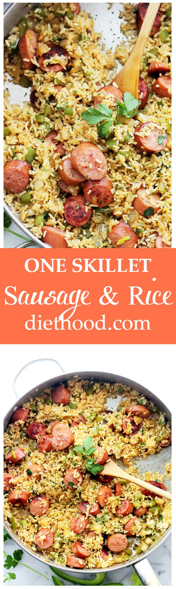 One-Skillet Sausage and Rice - Easy, 30-minute, one-skillet meal with smoked turkey sausage, fluffy white rice and flavorful veggies. #MinuteMeals #ad Get the recipe on diethood.com