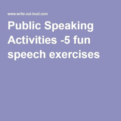 Essay On Childhood Obesity Public Speaking Activities  Fun Speech Exercises More Social Control Theory Essay also Argumentative Essay Global Warming  Best Communicationsoral Images On Pinterest  Learning Writing  Problems And Solutions Essay
