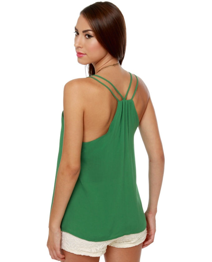 [Think Tank Green Tank Top] love the styling on the racerback paired with the white lace shorts
