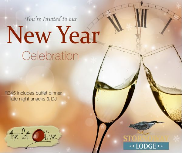 Join us for our New Year celebration! R345 pp includes buffet dinner, late night snacks and DJ - Bookings on 071 354 6622