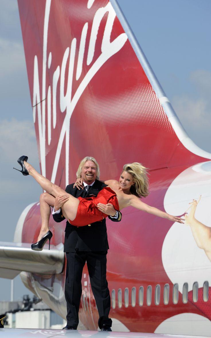 Richard Branson and Kate Moss celebrating #VirginAtlantic's 25th birthday