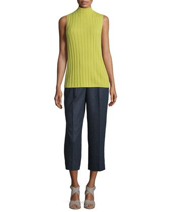 Ribbed+Cashmere+V-Neck+Cardigan,+Sleeveless+Mock-Neck+Ribbed+Cashmere+Top+&+Rivington+Cropped+Straight-Leg+Wool-Blend+Pants+by+Lafayette+148+New+York+at+Neiman+Marcus.