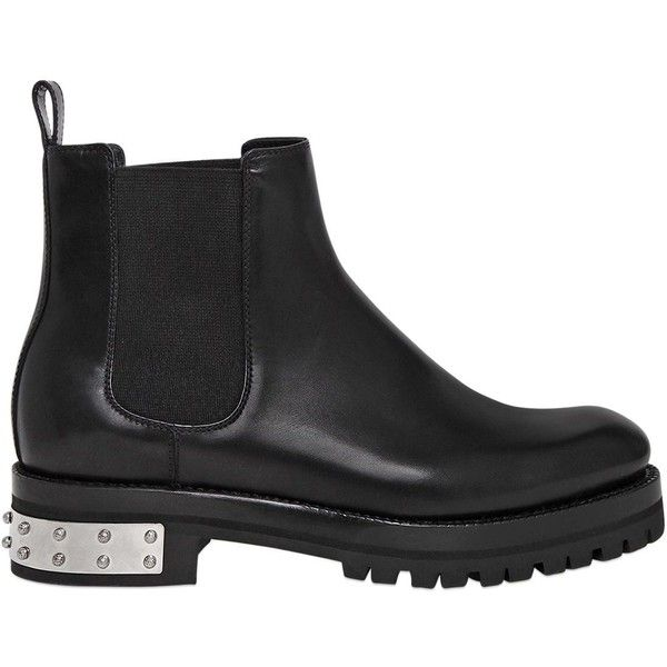 Alexander Mcqueen Women 30mm Leather Chelsea Boots (21.525 ARS) ❤ liked on Polyvore featuring shoes, boots, ankle booties, black, chelsea boots, studded booties, black booties, black boots and chelsea bootie