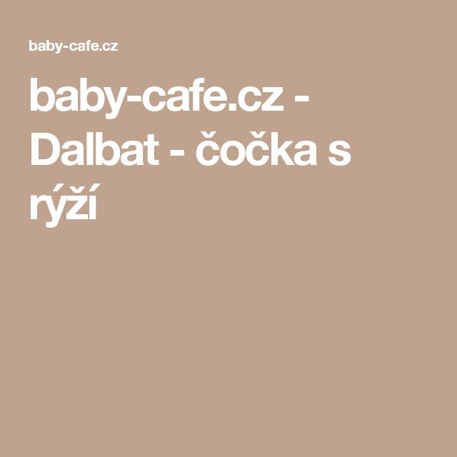 baby-cafe.cz - Dalbat - čočka s rýží