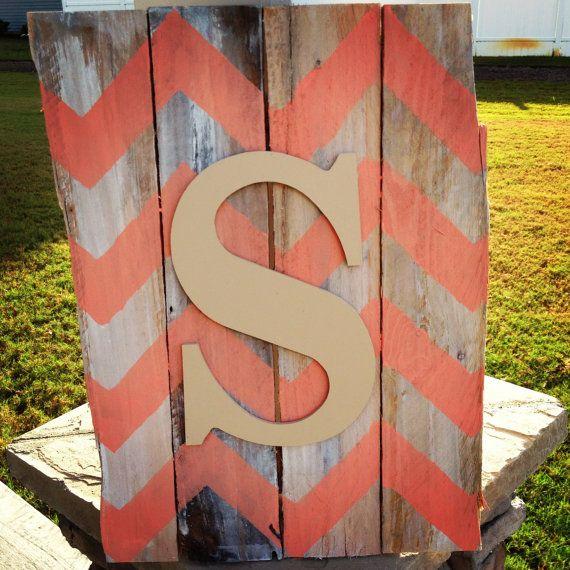 Chevron Whitewashed Initial Pallet Sign, Custom Order on Etsy, $30.00