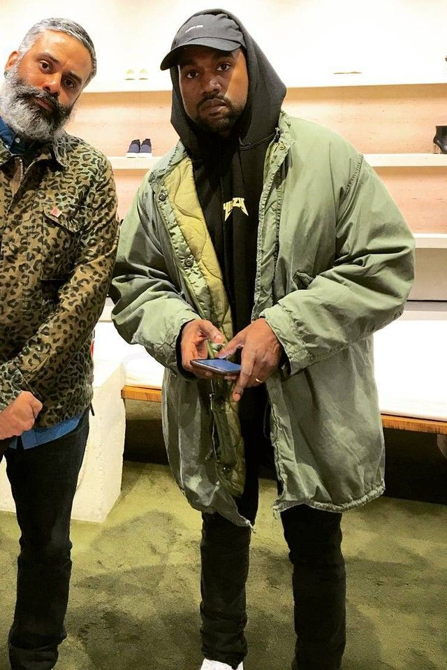 Kanye West wearing  Anti Social Social Club I Miss You Hat, Vintage US Army M65 Extreme Cold Weather Parka With Removable Inner Jacket