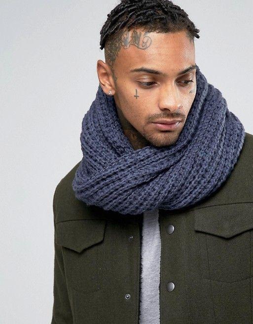 7X | Серый шарф-снуд крупной вязки 7X
