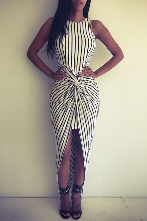 Vertical Stripes Asymmtrical Racerback Maxi Dress WHITE AND BLACK: Maxi Dresses | ZAFUL