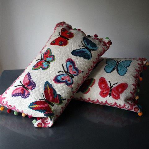 Set of 2 Bright Butterflies Cross Stitch Kits