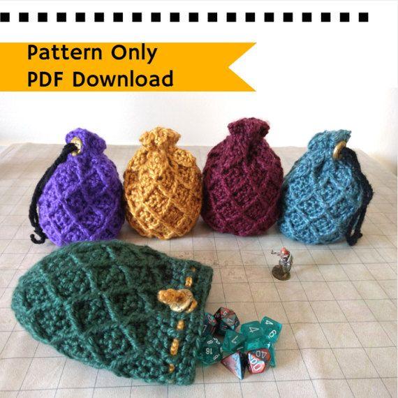 PATTERN: Dice Bag Dragon Egg crochet pattern drawstring bag