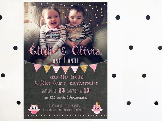 Carte d'invitation 1er anniversaire personnalisée - FICHIER NUMÉRIQUE_fête fillette, rose et doré, premier anniversaire, chalkboard