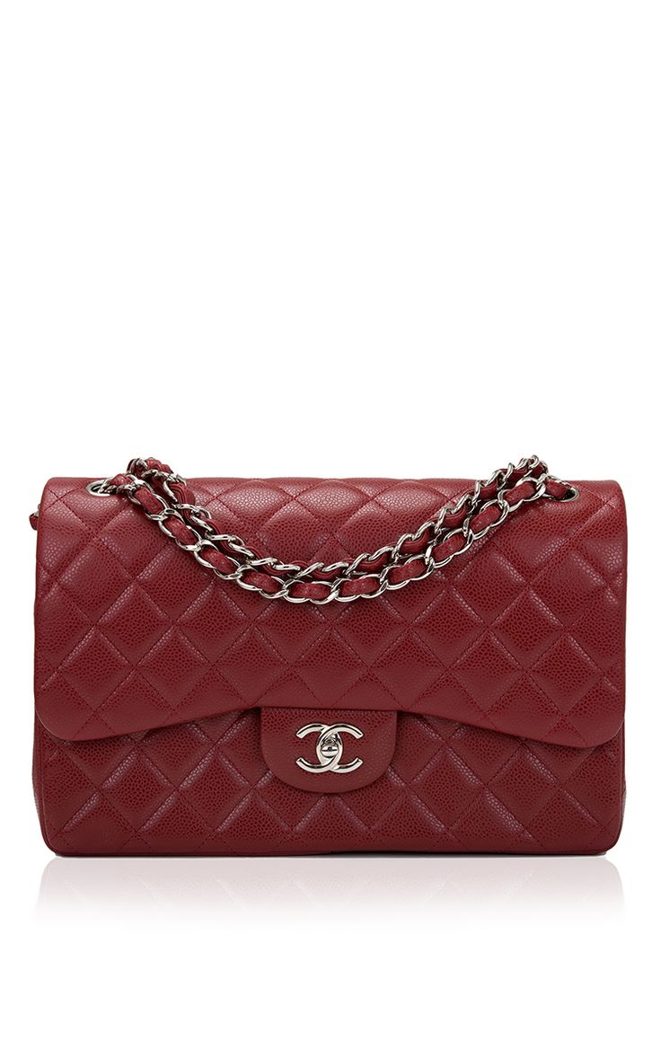Chanel Dark Red Quilted Caviar Jumbo Classic Double Flap Bag - Preorder now on Moda Operandi