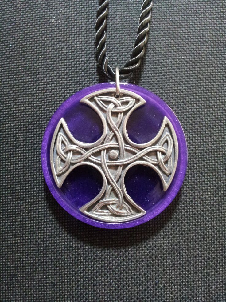 Celtic Cross Necklace in Purple Pearl Resin + Free Shipping ~ Cross Jewelry,Celtic Jewelry,Celtic Cross Jewelry,Spiritual Jewelry by OurArtyCreations on Etsy