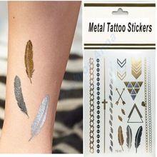 Nueva Moda Nuevo Tatuaje Temporal Tatuajes Metálico Pegatinas Patrón De Plumas De Oro(China (Mainland))