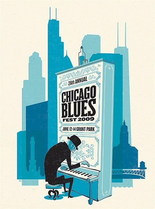 2009 Chicago Blues Festival Poster by Spike Press