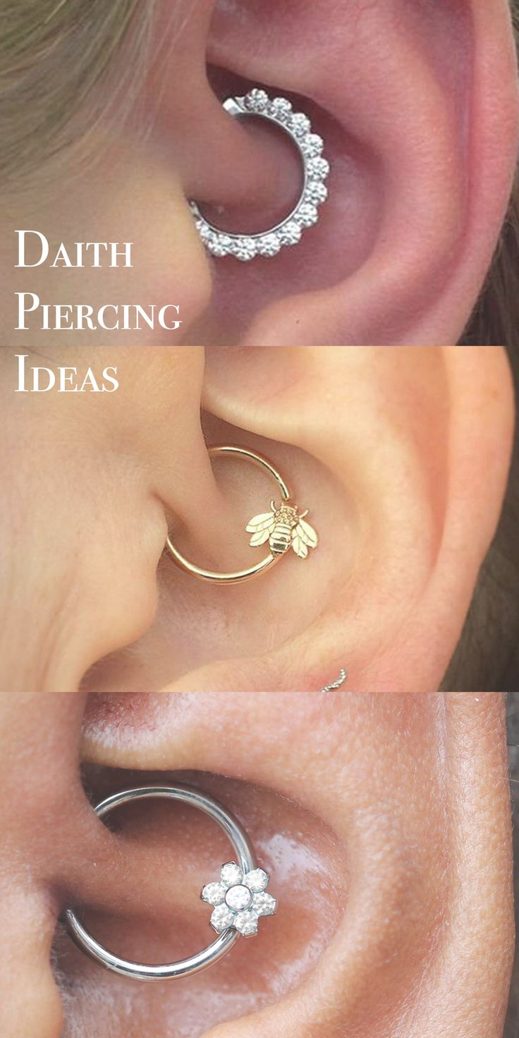 Cute Ear Piercing Ideas at MyBodiArt.com - Daith Piercing Jewelry Hoop - Silver Crystal Flower Ring - Gold Bee Segment Hoop