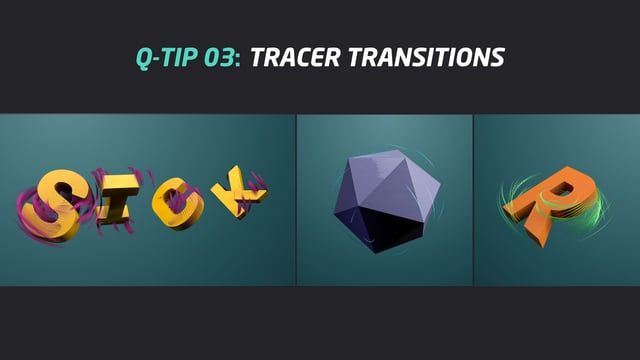 "Maybe this tip is simply and easy but can give us differents ways to create transitions between two objects.   In this video I show you how to create transitions between two objects with a tracer.  Create two objects, group both with a null and ""fracture mograph"". Then add a plain and delay effector to control the movement of the objects. Finally, add a tracer mograph to create the trace of the fracture movement.  Download the scene file: https://www.dropbox.com/s/ay9m0e0vq7iysdf/TRACER..."
