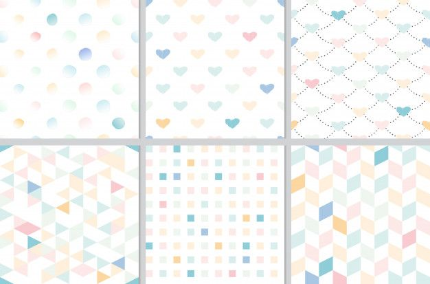 Rainbow Pastel Heart And Geometric Seamless Pattern Collection