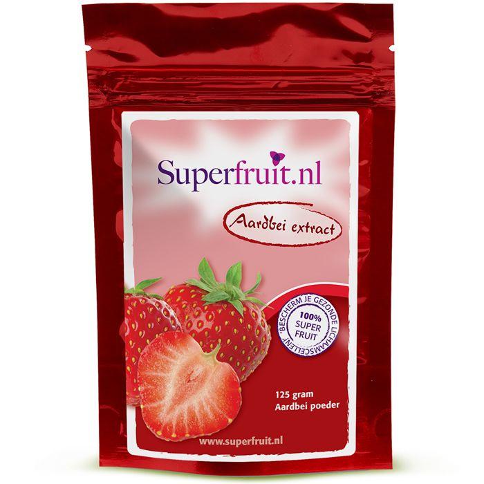 Aardbeien Poeder is een bron van voedingsvezels, vitamine C en mangaan. Daarnaast bevat de aardbei ook verschillende antioxidanten, zoals flavonoïden, ellaginezuur en anthocyanen. Prijs per 125 gram: €19,95