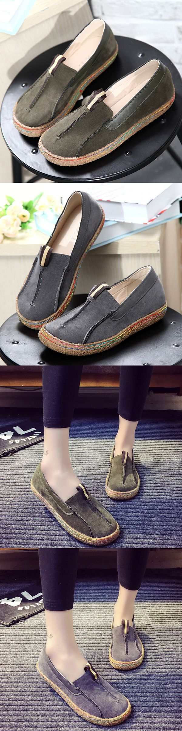 US$16.03  Stitching Pure Color Slip On Lazy Casual Suede Shoes