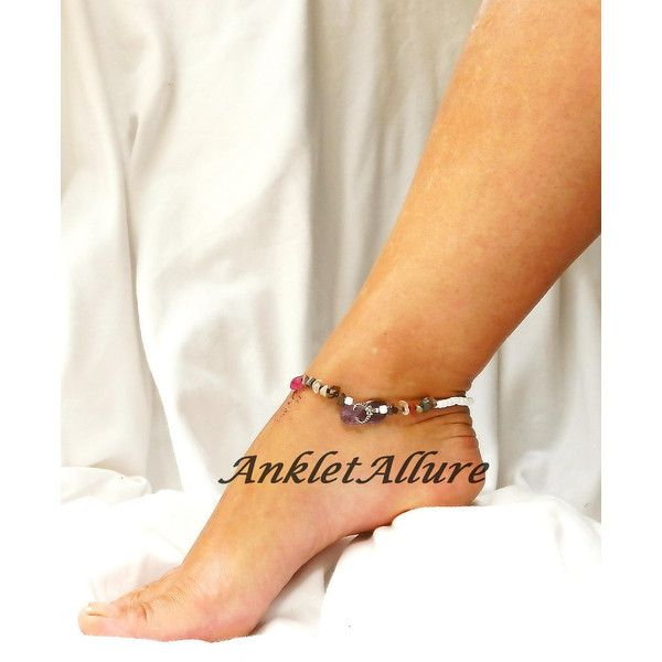 Beach Anklet Purple Flip Flop Anklet Beach Body Jewelry Amethyst Ankle... ($17) ❤ liked on Polyvore featuring jewelry, ankle bracelets, purple amethyst jewelry, beach jewelry, amethyst jewellery and body jewelry