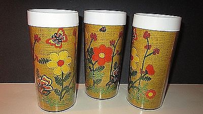 Vintage THERMO SERV Insulated Tumblers FUNKY FLOWER~BUTTERFLY Needlepoint Design