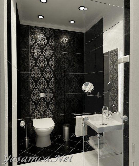 Siyah beyaz banyo