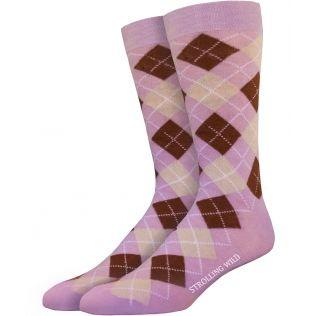 Lavender, Brown & Beige Argyle Socks for Men