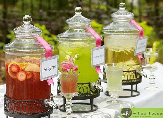 Sangria and Margarita Bar #apothecary jar #drinks #punch Love the look of this!