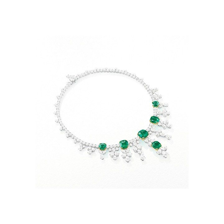 Harry Winston. Emerald and Diamond Necklace Set in Platinum. Price Upon Request. Harry Winston Salons and harrywinston.com