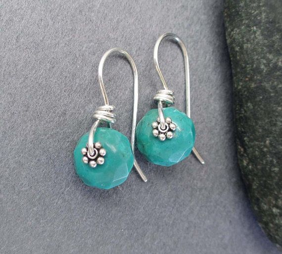 Genuine Turquoise Drop Earrings Sterling Silver Jewelry Simple Petite Small Turquoise Earrings Diy Earrings Dangle Earrings Handmade Beaded Earrings
