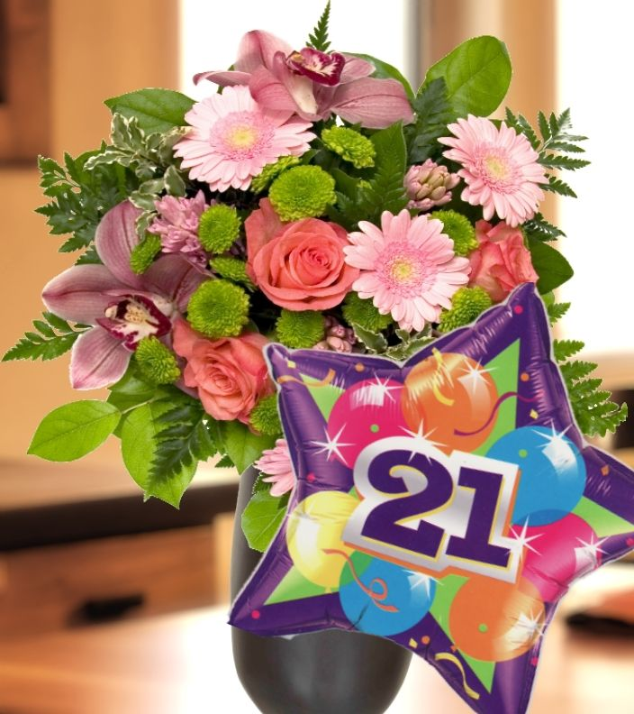 21st Birthday Flowers And Balloon