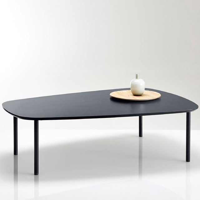 Table basse forme arrondie plaqu e noyer ou noir for Table watford