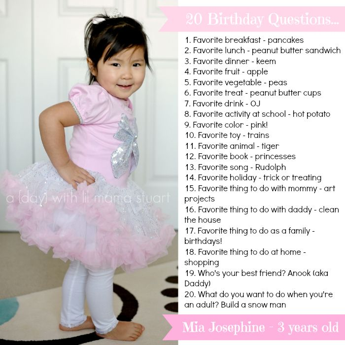 My baby girl turned three recently and here's what she had to say when I asked her 20 questions on her birthday. I hope to do this every yea...