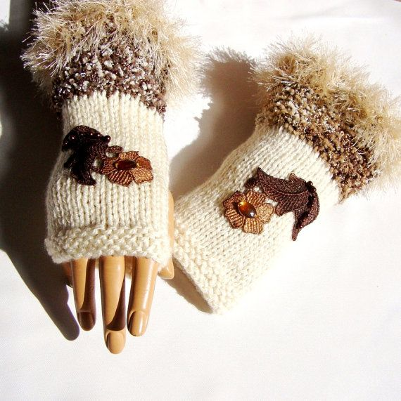 Hand Knit Ivory Gloves Mitten Lace Bead Fingerless Gloves by Pasin, $36.00