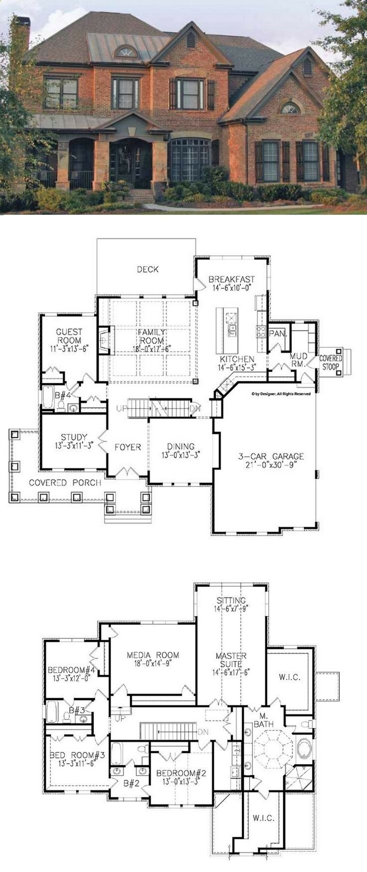 Traditional House Plan with 3962 Square Feet and 5 Bedrooms from Dream Home Source   House Plan Code DHSW68890
