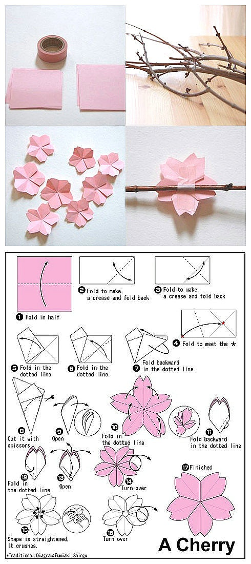 I want to make an origami mobile with cranes and cherry blossoms!