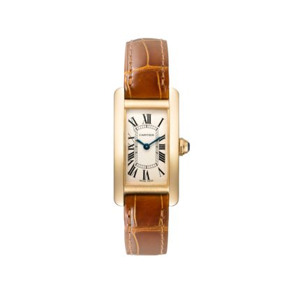 Cartier Tank Américaine Watch, Small Model, Quartz, yellow gold, sapphire, leather