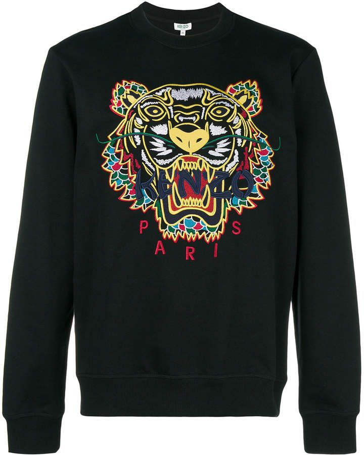 Black Hot MEN WOMEN EMBROIDERE KENZO PARIS TIGER LOGO T-Shirts SIZE:S-XL