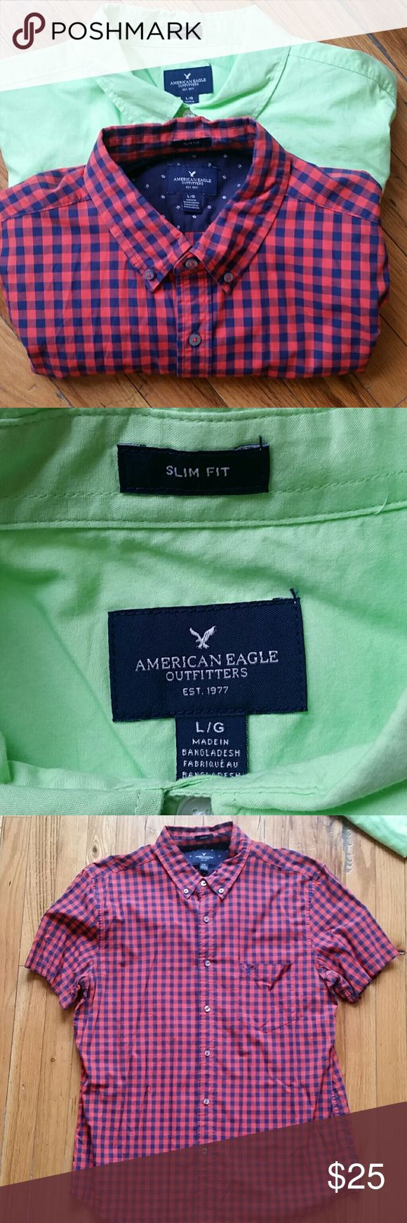 American Eagle Shirt Bundle Slim Fit and Size: Large. Front pocket. Both short sleeve.   Casual button downs that are great for spring/summer! Used but in good condition American Eagle Outfitters Shirts Casual Button Down Shirts