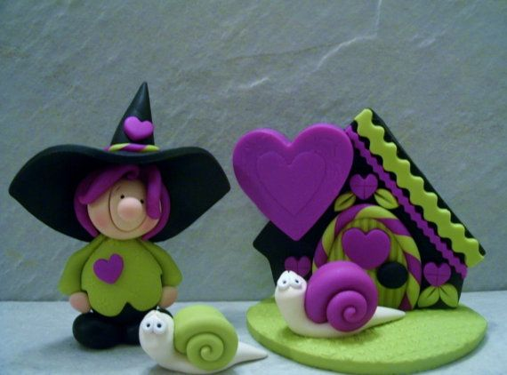 Witch Snails Halloween Cottage by countrycupboardclay on Etsy
