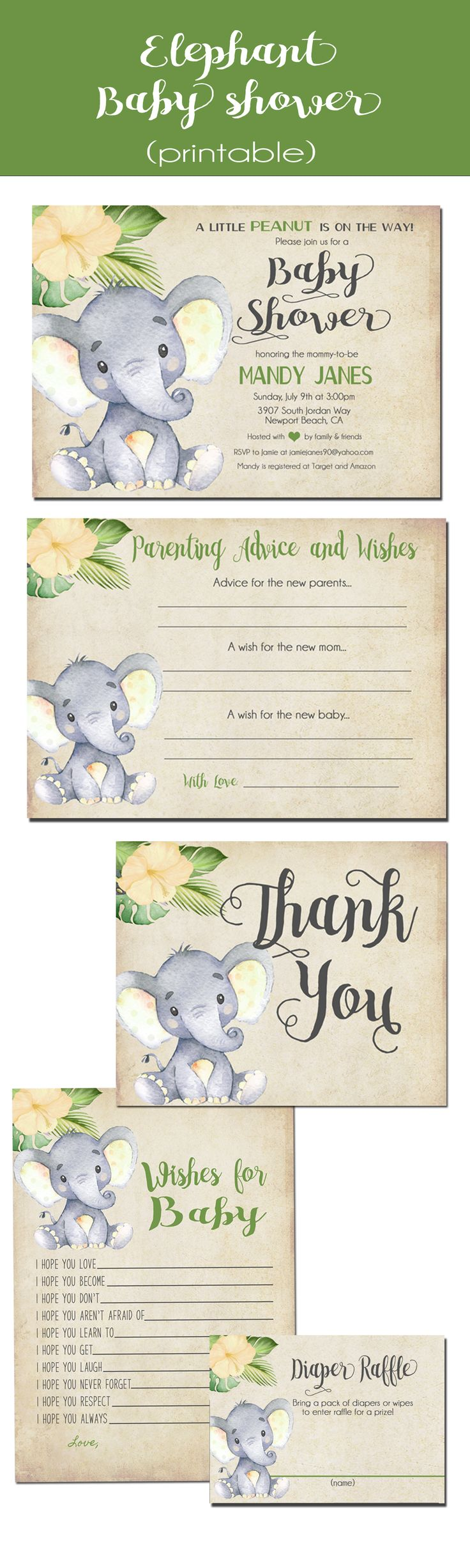 Gender Neutral Yellow Elephant Baby Shower Invitation